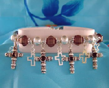 Silvertone Black Cross Charm Bracelet Christian Jewelry
