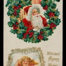 Great Santa Claus w Girl Sleeping 1912 Postcard