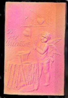 Lovely Embossed Angels/Cherubs Valentine's Day Postcard