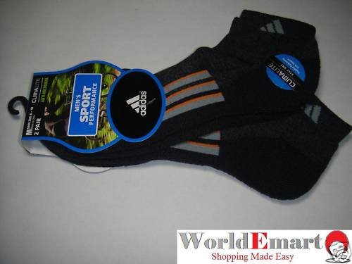 ADIDAS socks 2 Pairs men black sport low cut NWT 6-12
