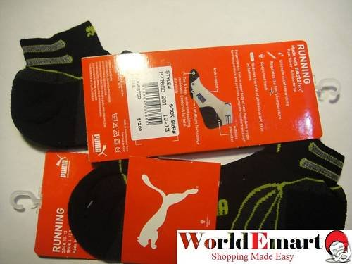 PUMA socks 2 Pairs low cut men black RUNNING 10-13 NWT