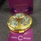 CAROL BRODIE Diamond Gardenia Solid Perfume With Jeweled Compact