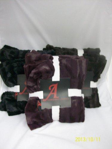 """A by Adrienne Landau Faux Mink Throw w/ 4"""" Ruffle Border-Wine"""