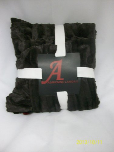"A by Adrienne Landau Faux Mink Throw w/ 4"" Ruffle Border-Black"