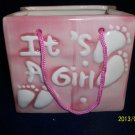 Baby Bag Planter-Nursery-Ceramic-Cute-Baby Shower-Christening-Birth-Girl