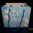 Baby Bag Planter-Nursery-Ceramic-Cute-Baby Shower-Christening-Birth-Boy