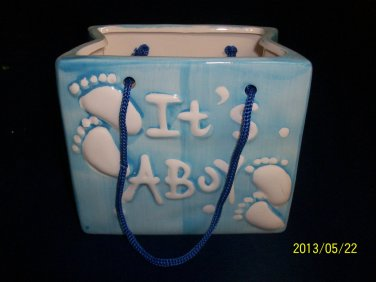 Baby Bag Planter-Nursery-Ceramic-Cute-Baby Shower-Christening-Birth-Boy