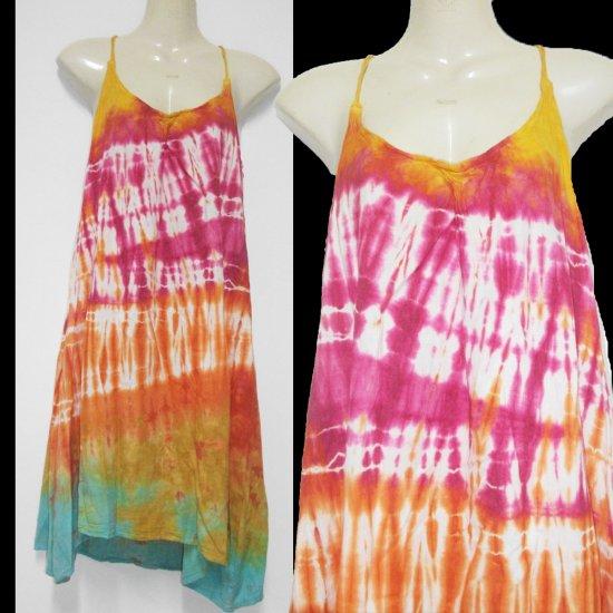 Tie dye Pink  Orange CHIC HALTER short dress or top Hippie Gypsy Boho Summer COCKTAIL Dress S M L
