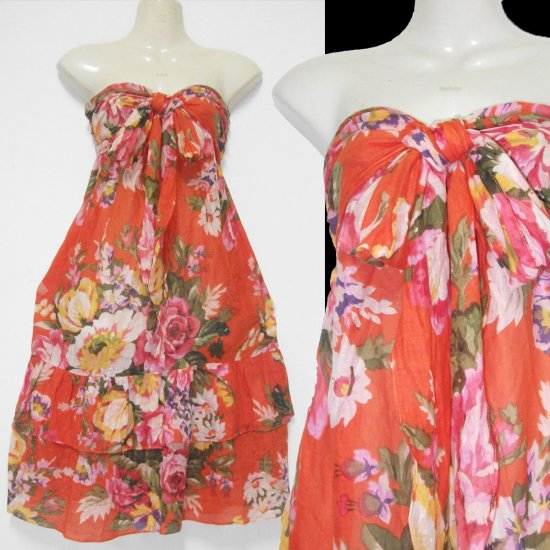 Orange With  Vintage Red floral  Hippie Gypsy Boho Dress or Top size S M L