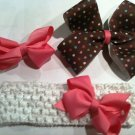 4 Pc Set Brown and Pink Bow