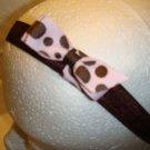 Infant hair bow Pink and Brown Polka Dots