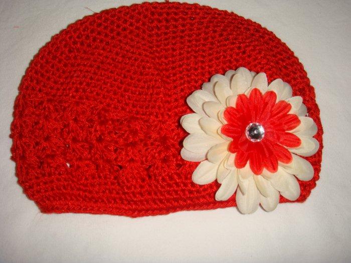 Red Creme/White Crochet Hat Flower Haribow