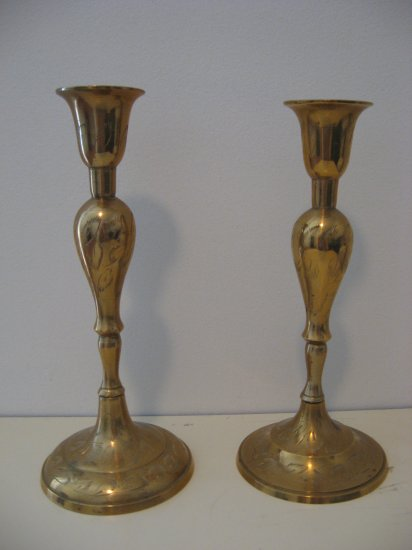 8 1/2 Solid Brass Candle Holders