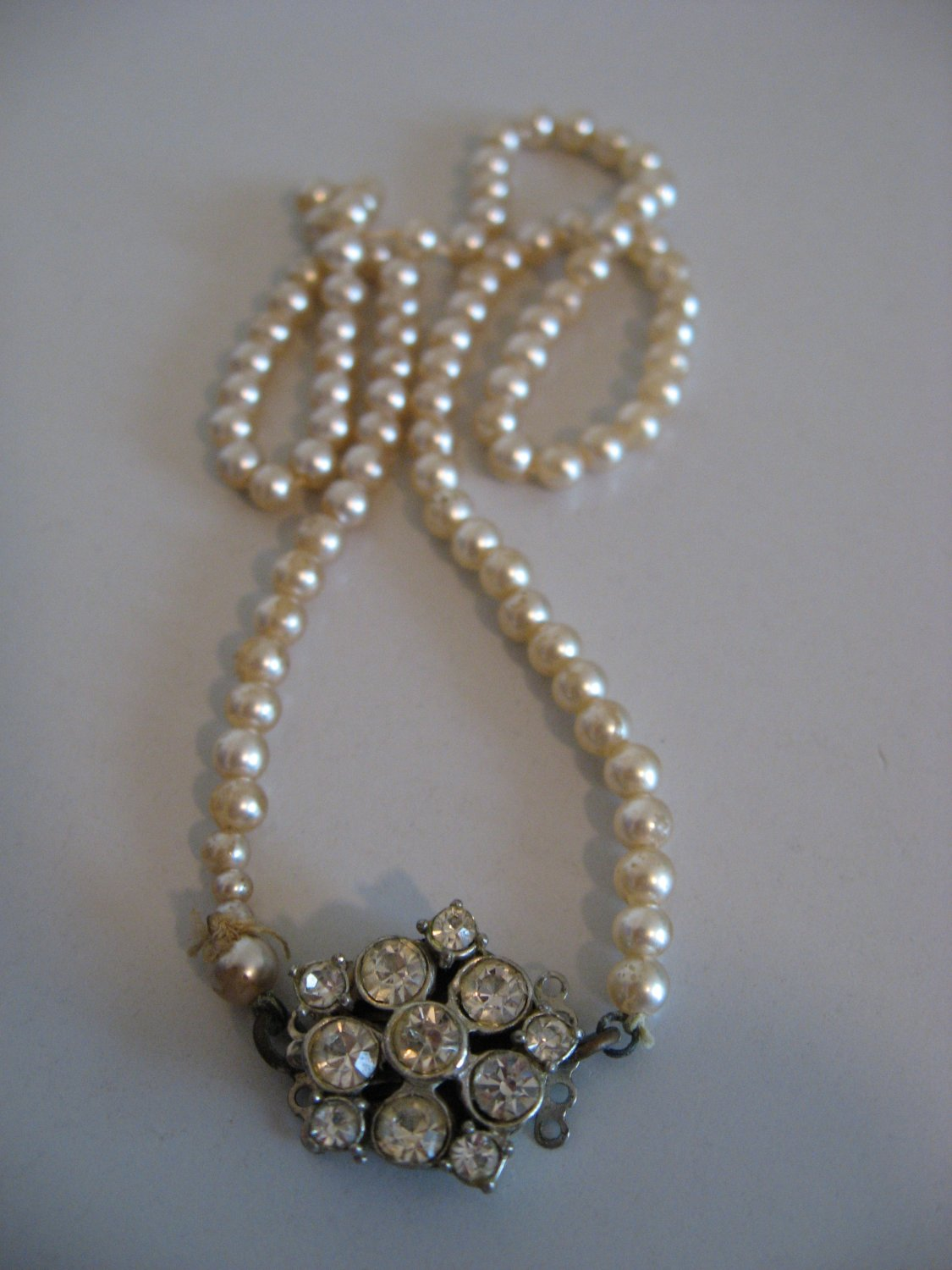 Silver Tone Faux Pearl Necklace