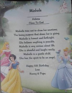 Name Poem Personalized Cinderella background paper Free Shipping