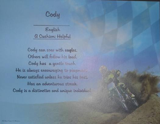 Name Poem Personalized  Motorcross background paper Free Shipping
