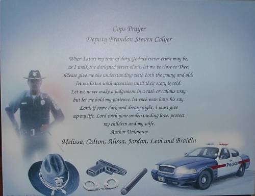 Cop Poem Personalied on Police Background Paper Free Shipping