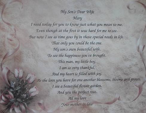 Dadughter In Law Poem Personalized Rose & Lace Background Paper  Free Shipping