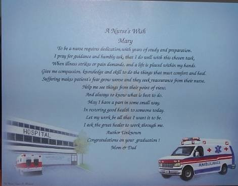 Personalized Nurse Poem On Medical Background Paper Free Shipping