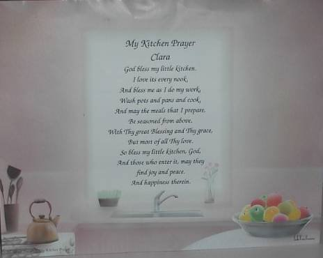 Kitchen Prayer Poem Personalized Windon In Kitcken background paper Free Shipping