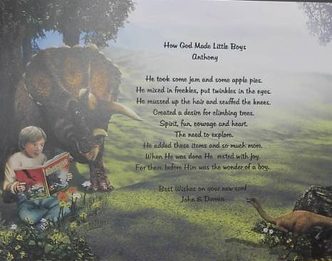 How God Made Little Boys Poem Dinosaur Background paper Free Shipping