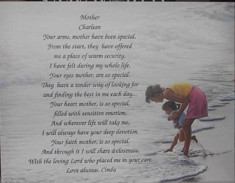 Mother Poem Personalized on Mom & daughter background paper