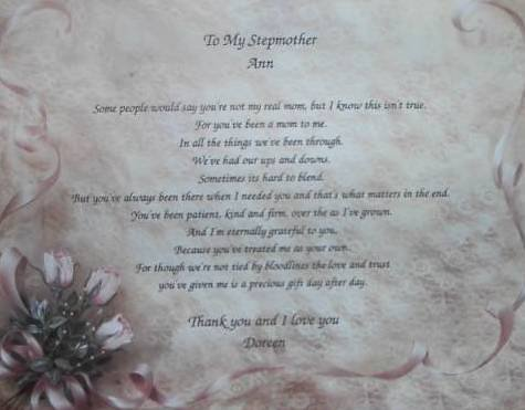 Stepmother Poem Personalized Rose & Lace Background paper Free Shipping