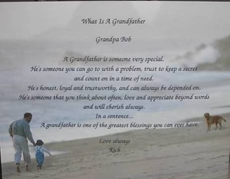 Grandfather Poem Personalized on Grandfather & Child background paper Free Shipping
