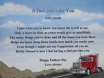 Dad Poem Personalized on Big Wheels background paper free shipping