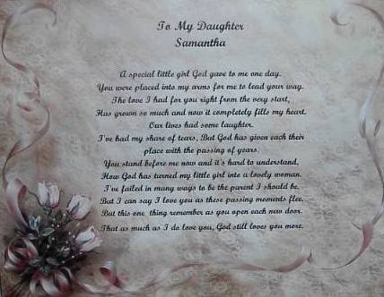 Daughter Poem Personalized on Rose & Lace Background paper Free Shipping