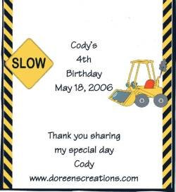 Personalized Construction Birthday Hershey 1.55 oz Candy Wrappers Free Shipping