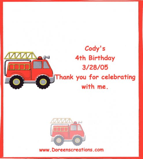 Personalized Fire Engine Birthday Hersey 1.55 oz Candy Wrappers Free Shipping