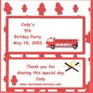 Fire Engine Personalized 1.55 oz  Candy Wrappers Free Shipping