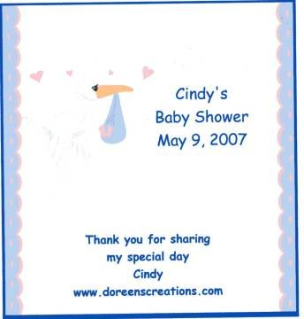 Personalized Hersey 1.55 oz Baby Shower  Stork Candy Wrapper Free Shipping