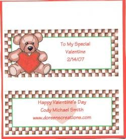 Bear Valentine Personalized Hershey 1.55 oz Candy Wrapper Free Shipping