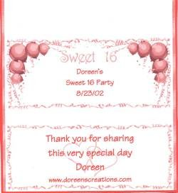 Personalized Sweet Sixteen Hershey 1.55 Candy Wrapper Free Shipping