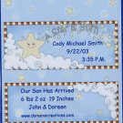 Baby Boy Birth Announcement Star Personalized Hershey 1.55 oz Candy Wrapper Free Shipping