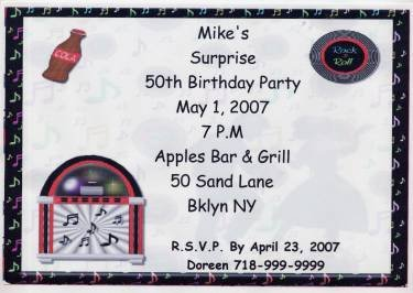 50th Birthday Jukebox Personalized Invitation Free Shipping