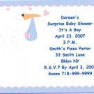 Blue Stork Party Invitation Personalized Free SZhipping