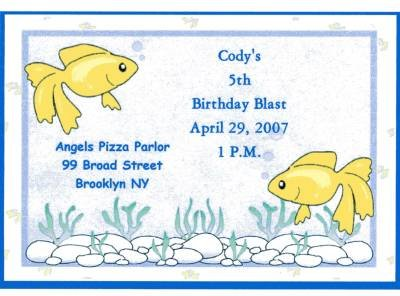 Gold Fish Invitation Personalized Free Shipping