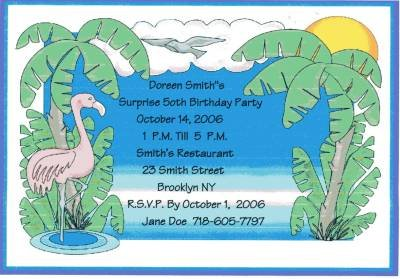 Tropical Party Invitation Personalized Free Shipping