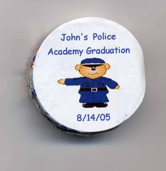 20 Snack Size Peppermint Patties Labels Male Police Academy Graduation Personalized Free Shipping