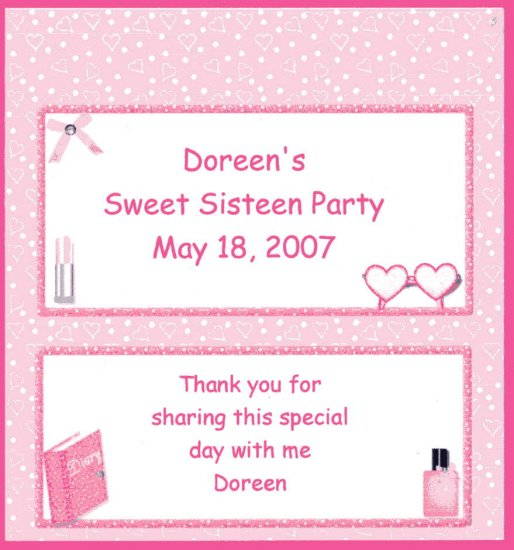 SWEET SIXTEEN PERSONALIZED HERSHEY 1.55 OZ WRAPPER FREE SHIPPING