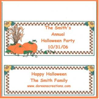 HALLOWEEN PERSONALIZED HERSHEY 1.55 OZ WRAPPER FREE SHIPPING