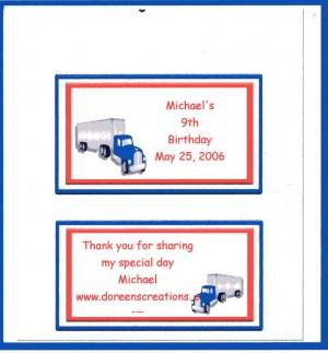 RED SEMI TRUCK BIRTHDAY PERSONALIZED HERSHEY WRAPPER 1.55 OZ FREE SHIPPING