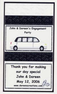 WEDDING LIMO ENGAGEMENT PARTY PERSONALIZED KIT KAT 1.5 OZ WRAPPER FREE SHIPPING