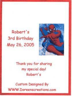 Spiderman Crayon Label Personalized Free Ship