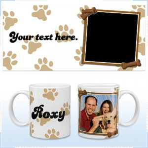 11oz White Ceramic Mug - Paw Prints Dog