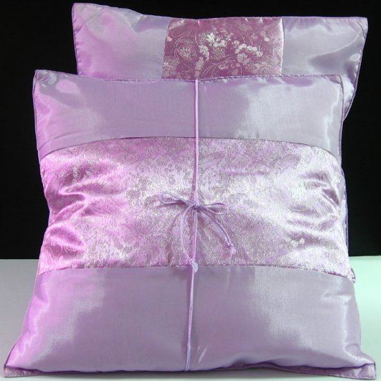 Pair Of Silk Decorative Pillow Case Cover Cushion Light Purple Pink With Silver Pattern