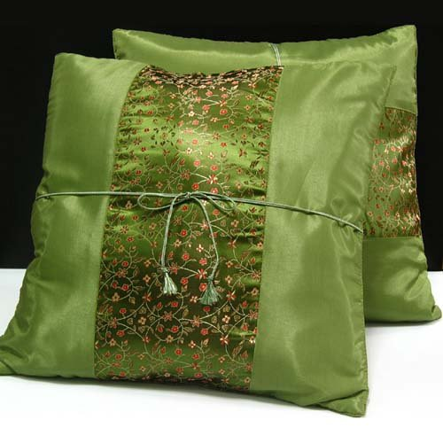 Pair of  Silk Decorative Pillow Case Cover Cushion Green  With Floral Pattern
